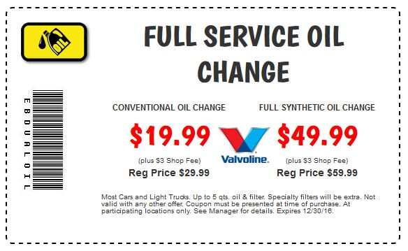Oil Change Coupons >> Print Coupons Car X