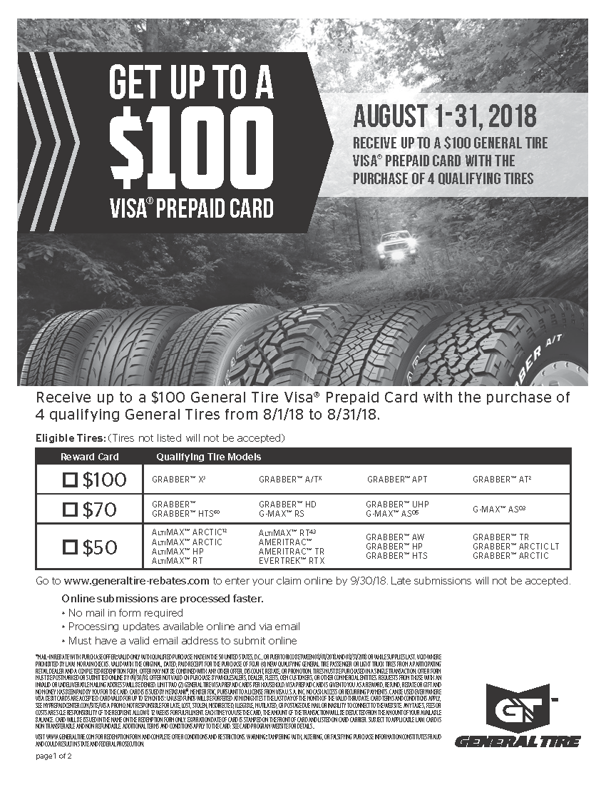 General Tire Rebate August 2018 Car X