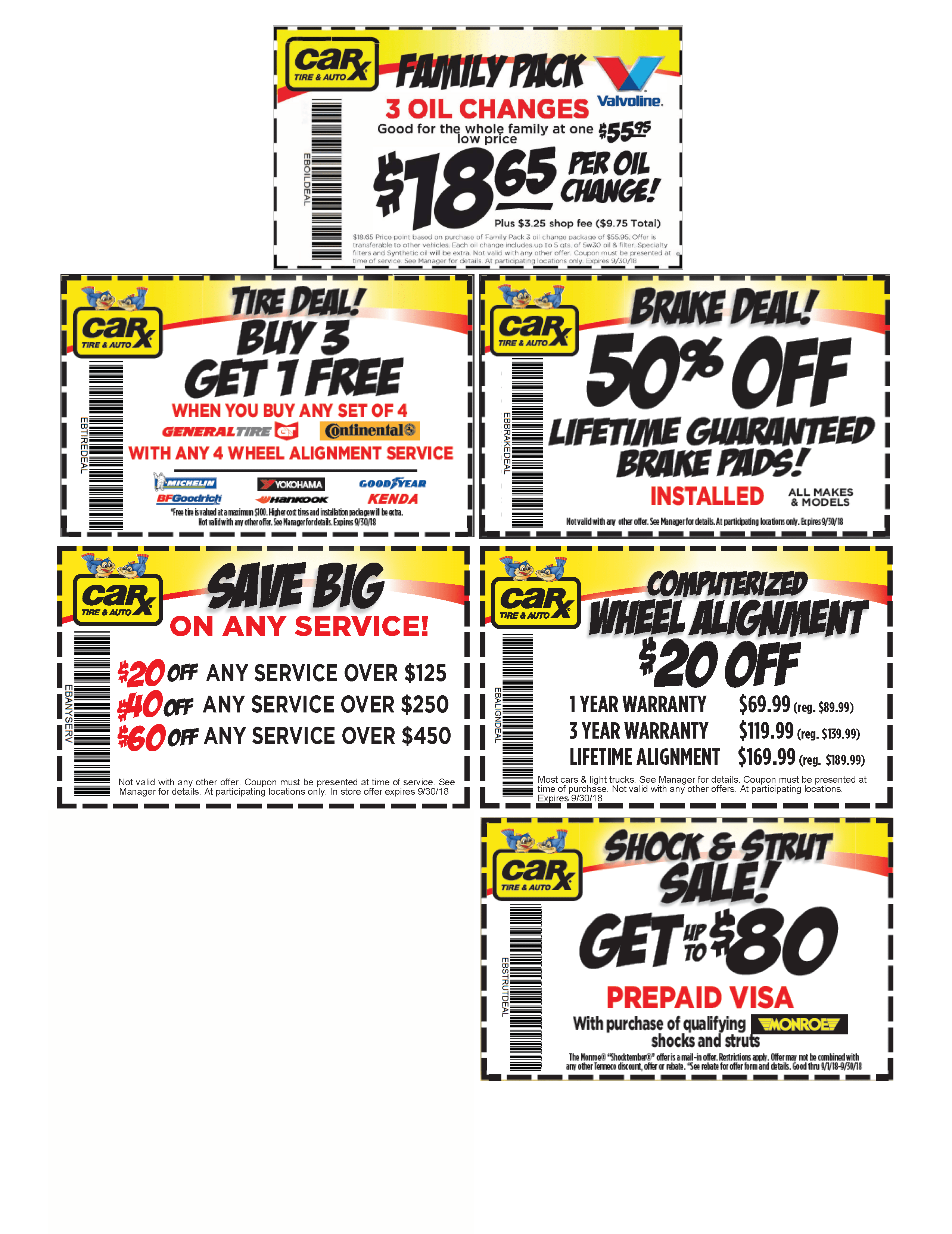 Illinois Area Auto Repair Coupons From Car X September