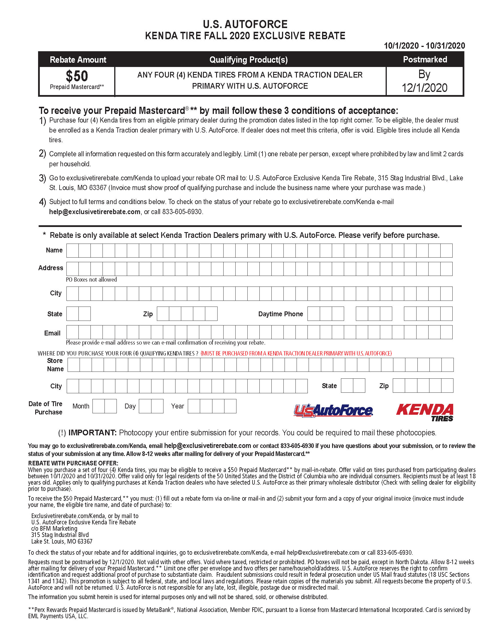kenda tire rebate form