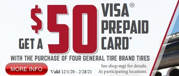 $50 gift card with purchase of General Tires