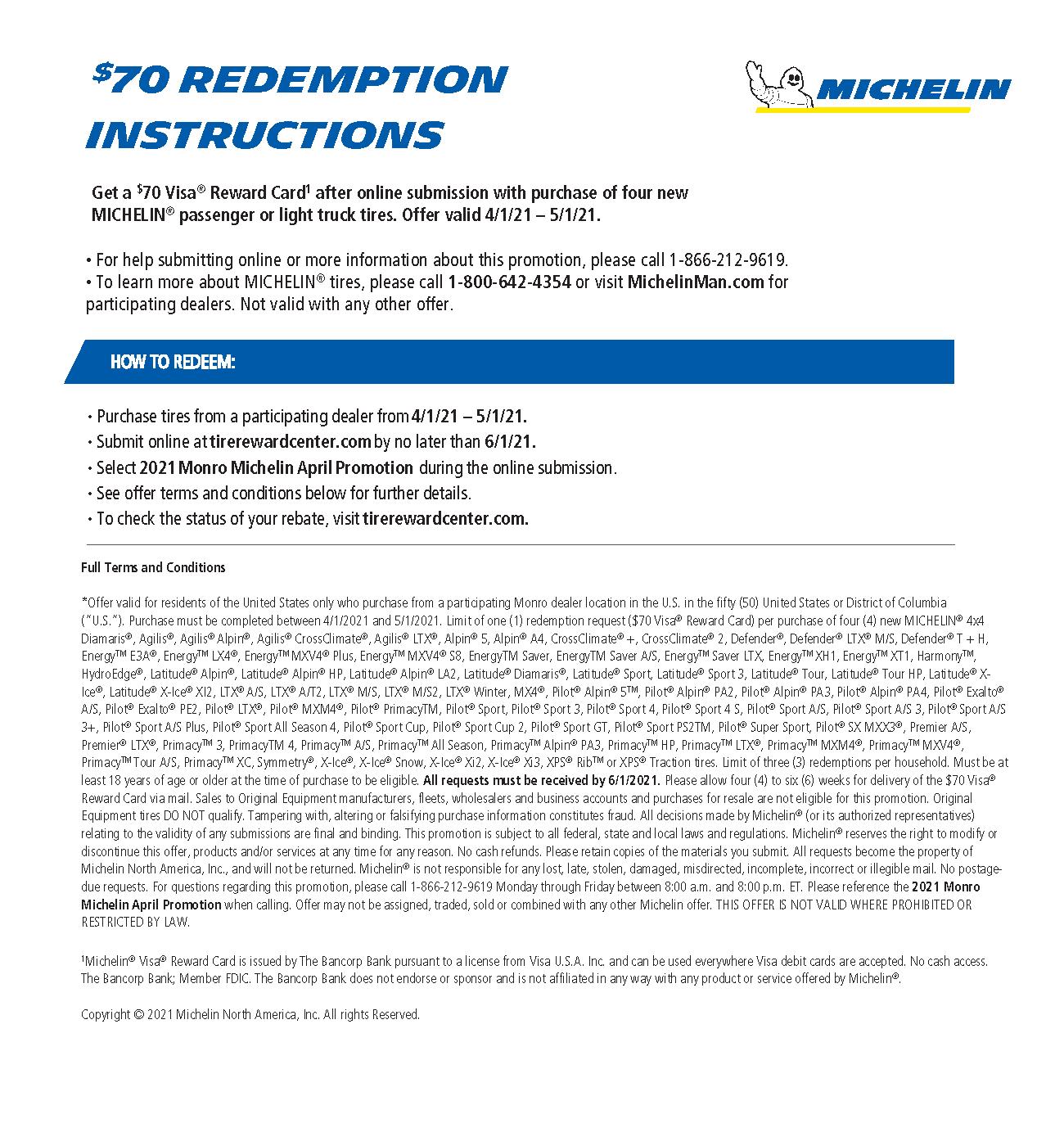 Michelin Tire Rebate Form