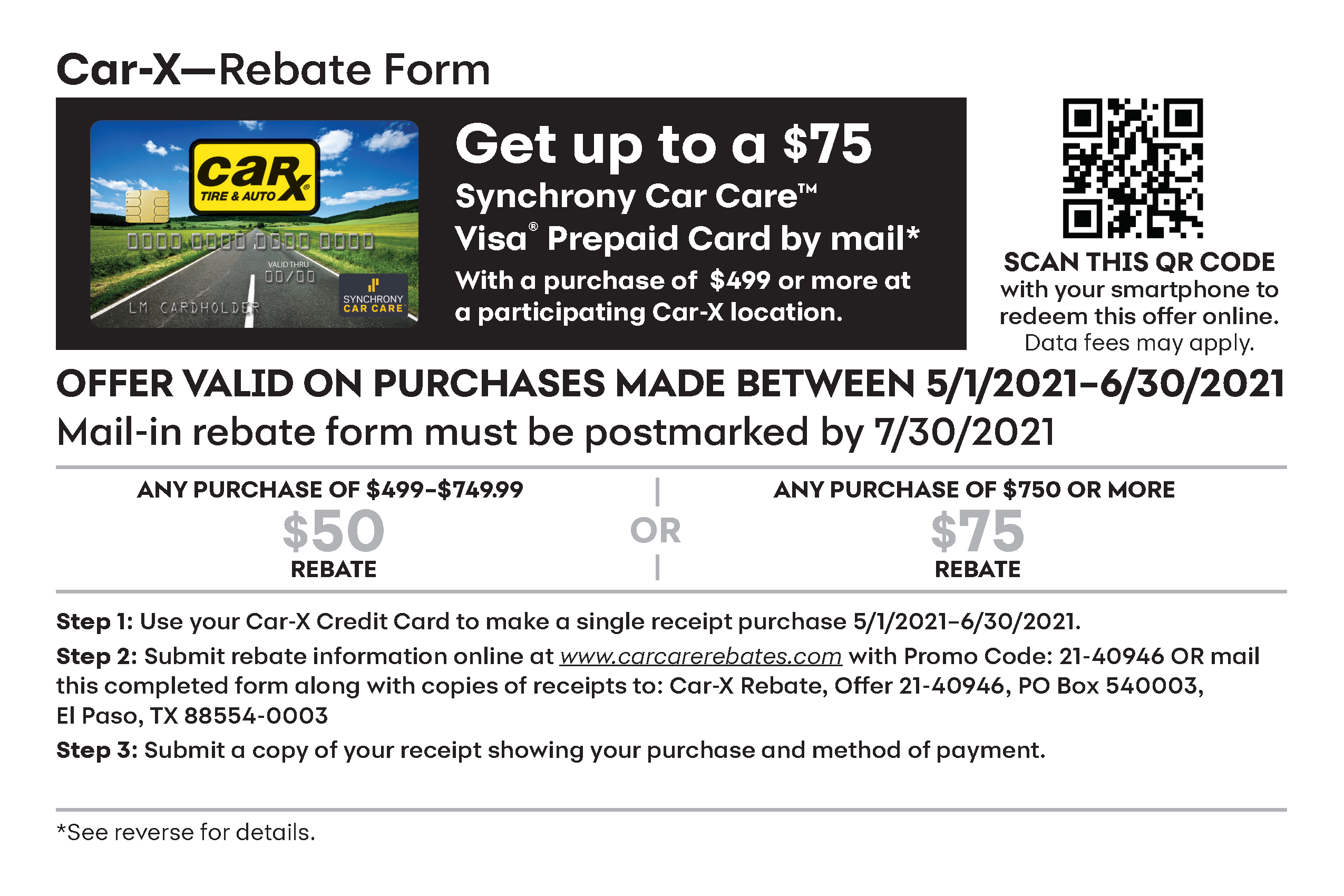 Synchrony Rebate Form page 1