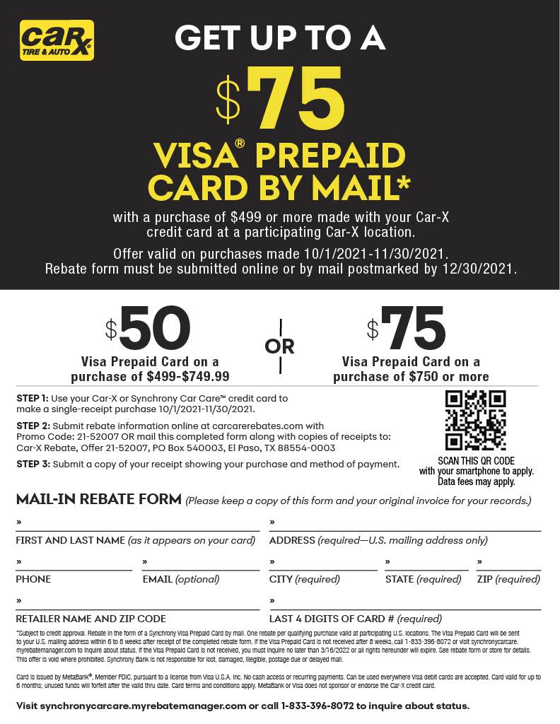 Synchrony rebate, $75 Off, Visa gift card